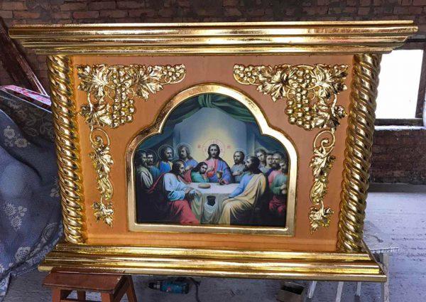 Облачение на престол с позолотой и резьбой 135х135см