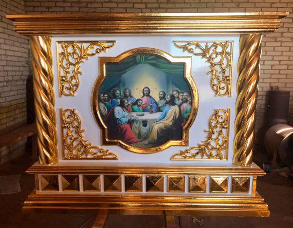 Облачение на престол с резьбой дерева и золочением 135х135см