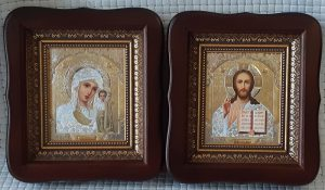 Иконы Венчальная Пара с литографическими иконами 23х26см