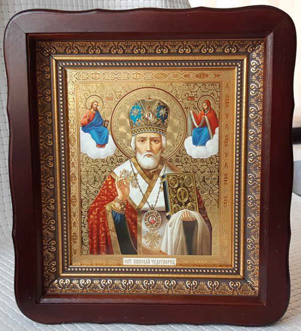 Икона Николай Чудотворец в митре для дома 23х26см