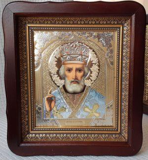 Икона домашняя Николай Чудотворец в митре 23х26см