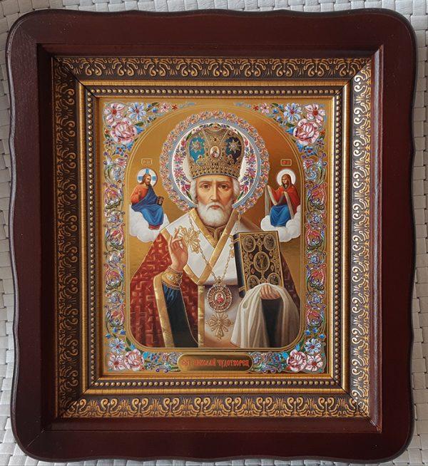 Икона Николай Чудотворец в митре на подарок 23х26см