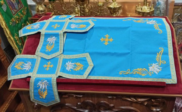 Церковные Покровцы с воздухом комплект (голубой цвет)
