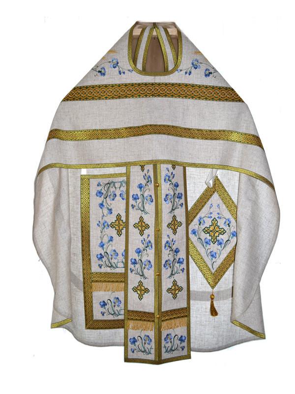Летнее облачение для священника с вышивкой из льна