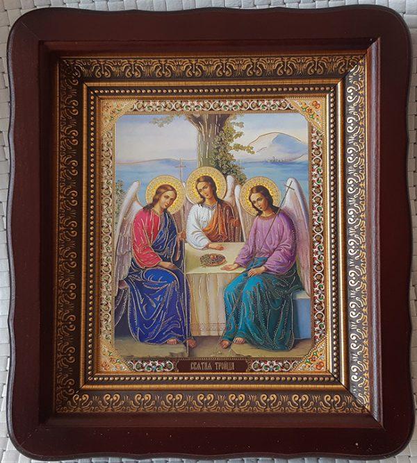 Икона Святой Троицы (старозаветной) 23х26см киот из дерева со стеклом