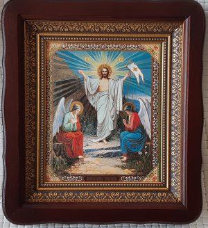 Икона Воскресение Господне в темном киоте