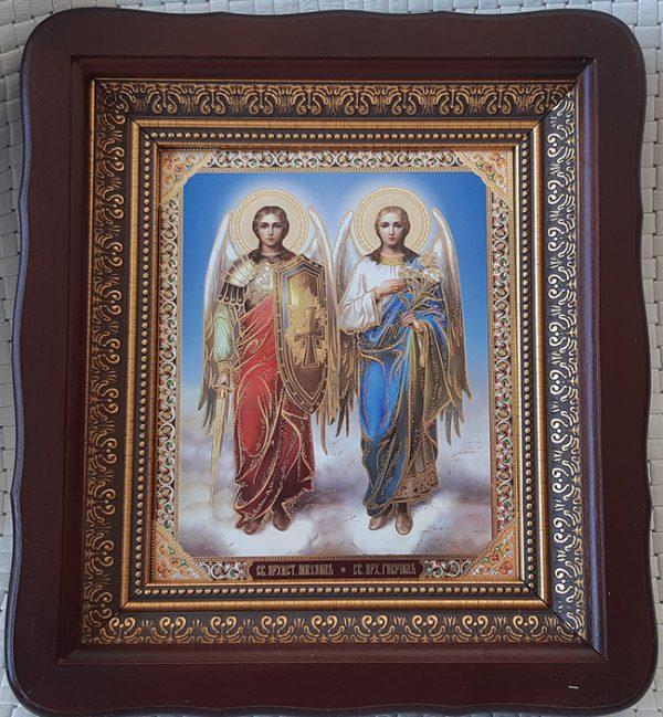 Икона на подарок Ангелов Михаила и Гавриила 23х26см киот из дерева со стеклом