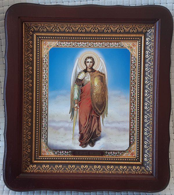 Икона Архистратига Михаила 23х26см киот из дерева со стеклом