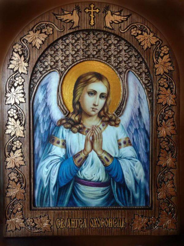 Ікона Ангела в новому кіоті з різьбою 27х22см
