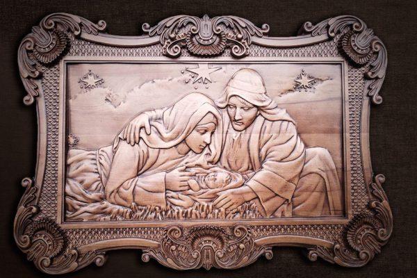Панно «Рождения Иисуса» резное из дерева на заказ 78*50см