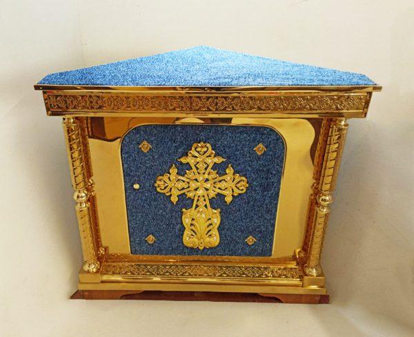 Угловой Жертвенник из булата с крестом (синий)