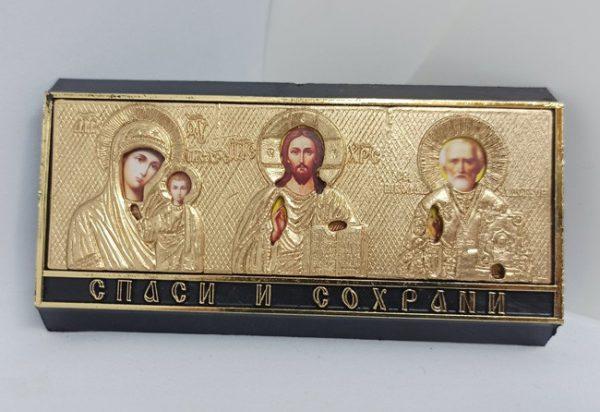 Иконка тройник Спаси и Сохрани в автомобиль золотая 10.5х5.5см