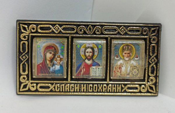 Икона тройник Спаси и Сохрани в автомобиль 9х4.5см