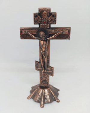 Крест с распятием из металла для столика 17х9см