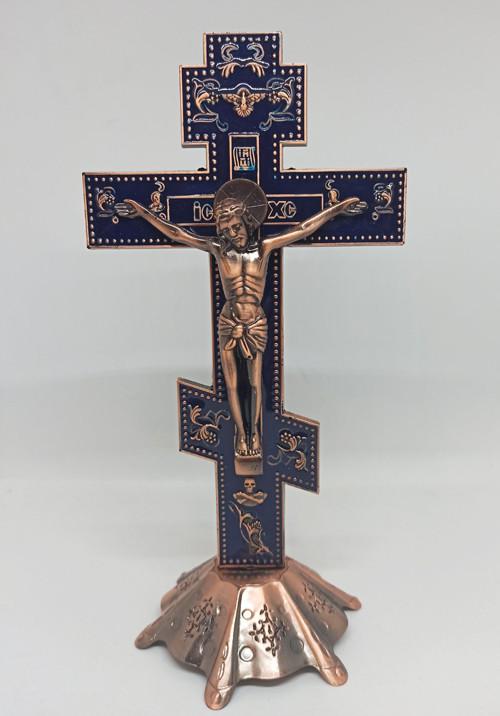 Крест распятие из металла на подставке для дома 25х13см