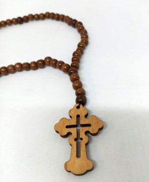 Четки на шнурке из дерева с прорезным крестом