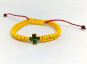 Браслет на руку с крестом (желтый)
