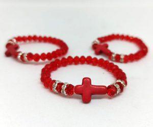 Браслет на руку с крестом на резинке (красный)