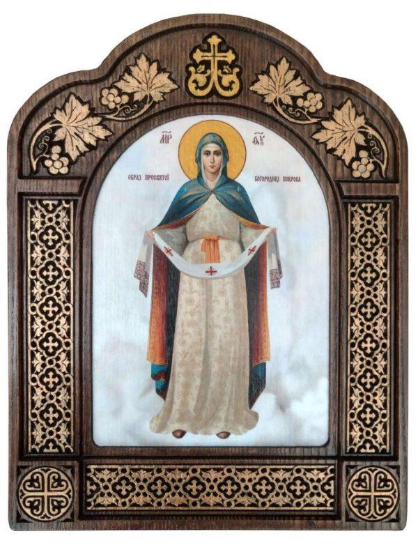 Покрова Божої Матері в арочному різному кіоті з дерева 28х22см