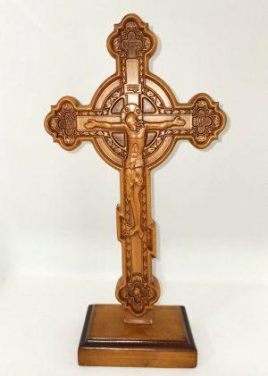 Резной Крест церковный с кругом 30х17см из бука