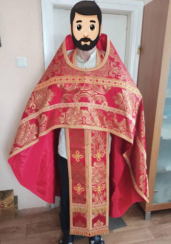 Верхнее облачение священника с вышивкой (красное) 151см длина