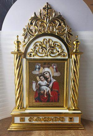 Выносная икона резная с золочением (на две стороны)