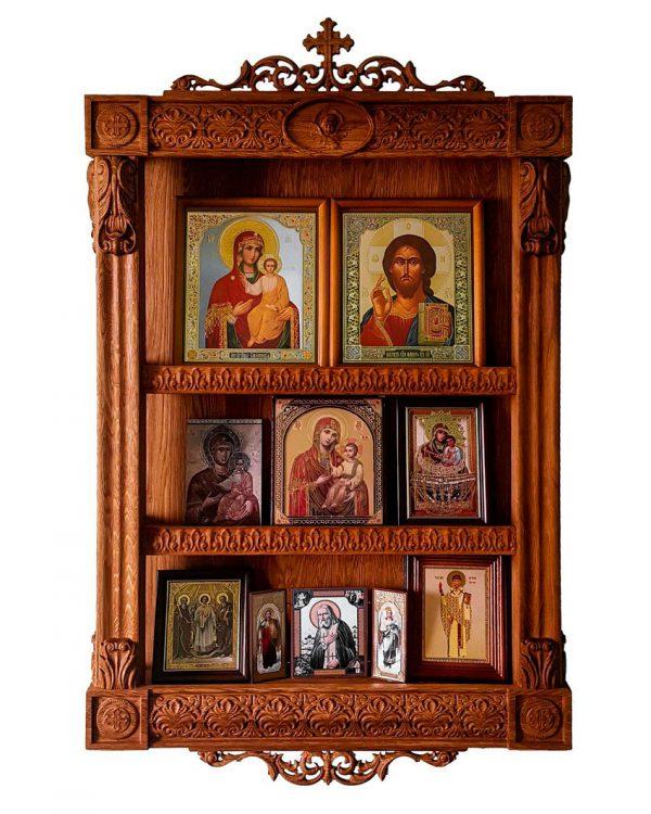 Домашний иконостас для икон с резьбой 100х60см