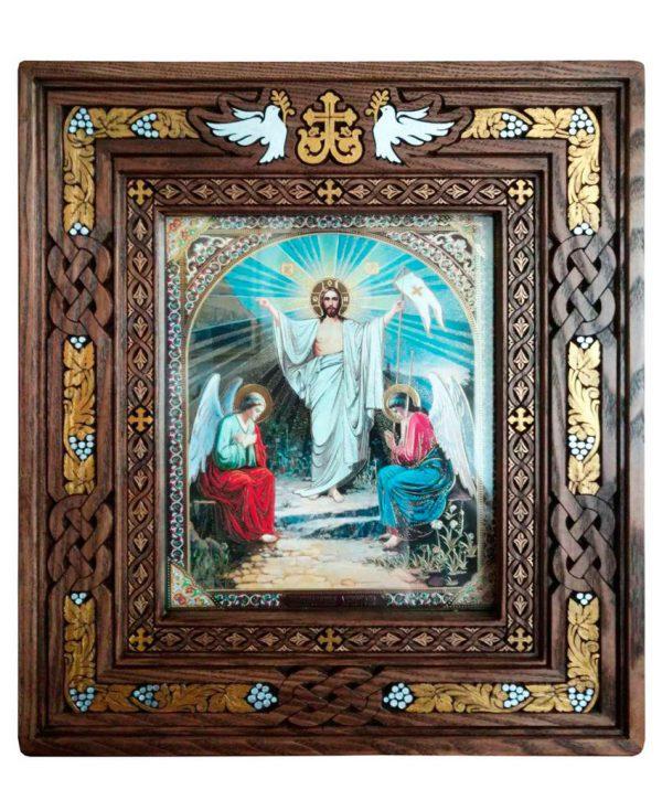 Киот резной открывной 43х53см под иконы Двунадесятых праздников 13шт.