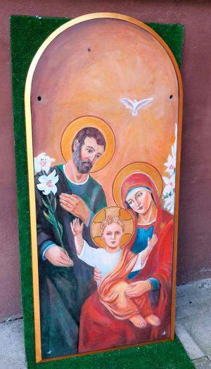 Икона Святое Семейство на камне для фасада