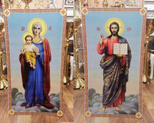 Иконы Спасителя и Богородицы 2шт.(печать на пвх) 105*57см