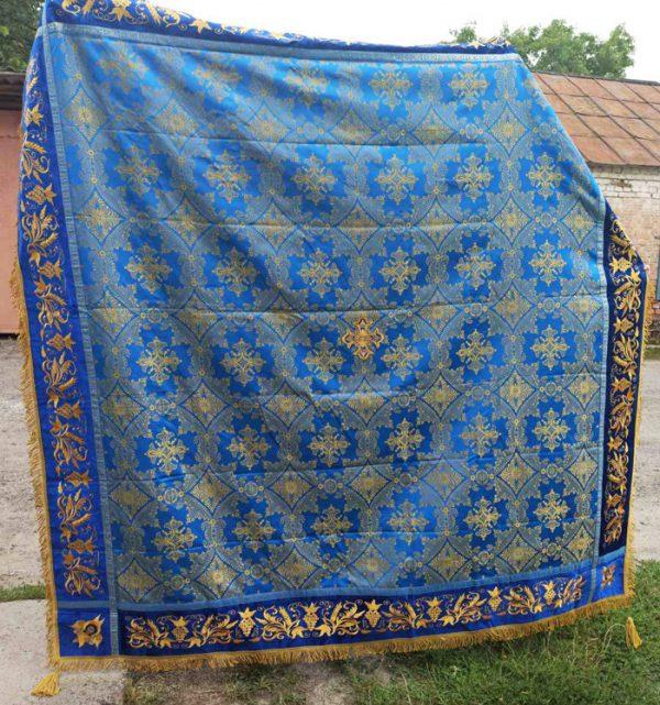 Скатерть с вышивкой синяя 170х170см