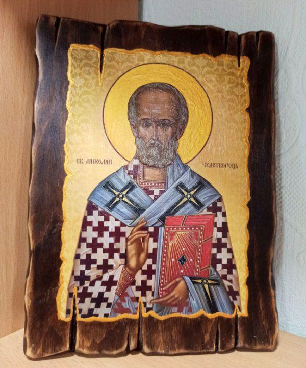 Ікона Святий Миколай в кіоті під старовину