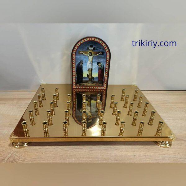 Крышка панихидного столика с литографией голгофы на 36 свечей