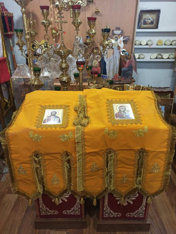 Хоругва замш. православная желтая для храма