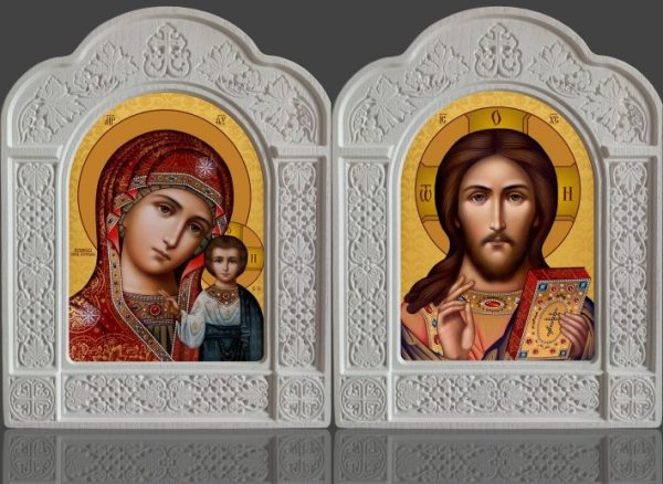 Пропонуємо ікони Пара Казанська в різьбленому кіоті з ясена 22х28см