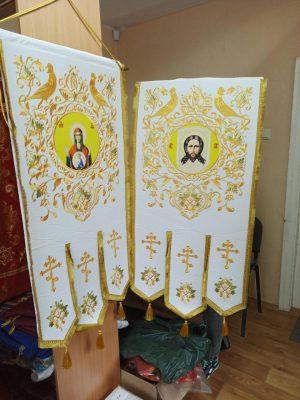 Хоругви большие вышивка на бархате термопечать иконы 120х60см