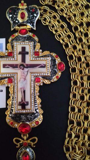 Наградный крест для батюшки с камнями