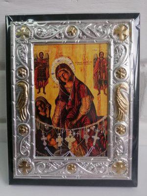 Иконка Пресвятой Богородицы «Кассопитра» в алюминиевом корпусе 13х17см