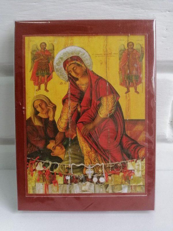 Иконка Пресвятой Богородицы «Кассопитра» на деревянном корпусе 11.5х15.5см