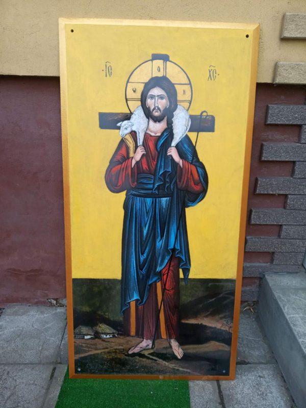 Икона Спасителя Христа на камне для фасада Храма