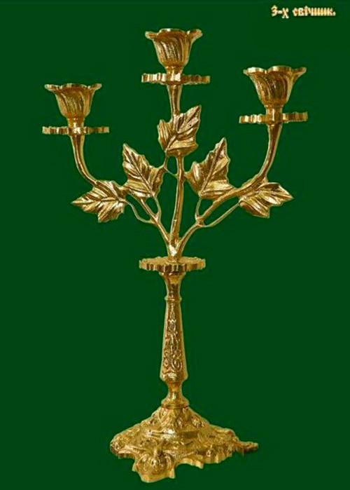 Подсвечник трилистник литой на 3 свечи (латунь)