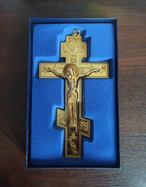 Крест распятие из металла на стену большой 22х13см
