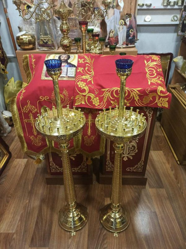 Латунный церковный подсвечник на 24 свечей конус труба