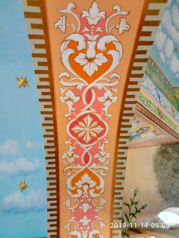 Элементы художественной росписи потолка
