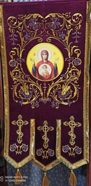Большие церковные хоругви вышивка на бархате термопечать иконы 120х60см