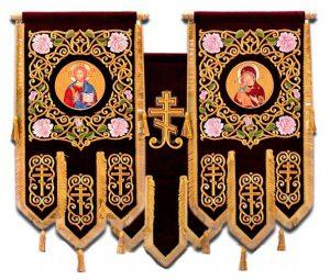 Хоругви для храмов большие вышивка на бархате термопечать иконы 120х80см