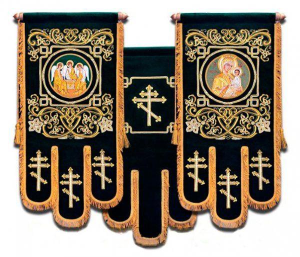 Тканевые Хоругви церковные с вышивкой на бархате
