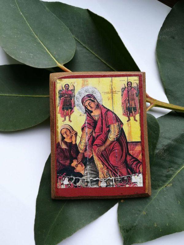 Иконка-магнит Пресвятой Богородицы Кассопитры на деревянной основе (большая)