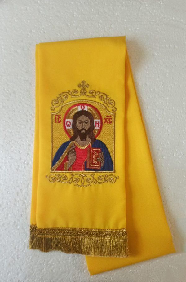 Закладка в Евангелие на габардине с вышивкой икон Святых