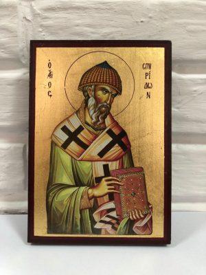 Икона Святитель Спиридон Тримифунтский 14х30см (Греция)